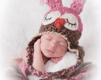 Baby Hat - Sleepy Owl Hat - Girl Hat - Pink Sleepy Owl hat - Girl Owl Hat - Baby Shower Gift -by JoJosBootique