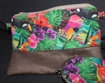 clutch tropical cotton and suede suede