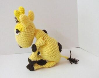 Giraffe/Plush Giraffe/Crochet Giraffe/Amigurumi/Yellow and Brown/Plush Toy/Hand Crocheted/Stuffed Toy/Birthday Gift/Photo Prop/Wildlife