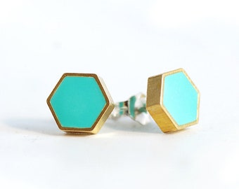 Turquoise and Gold Hexagon studs from Brass and Resin