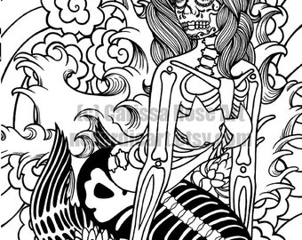 Digital Download Print Your Own Coloring Book Outline Page - Sirens Song Mermaid by Carissa Rose