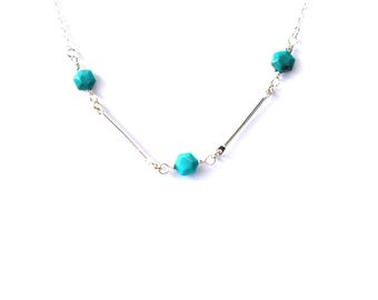 Genuine Turquoise Necklace/Gemstone Necklace/Silver/Gold