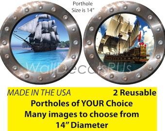 Pirate Ship Wall Decals, Nautical Wall Decals, Ocean Decals, Wall Clings, Pirate Wall Decals, Pirate Wall Decor, Porthole Window, O29O28