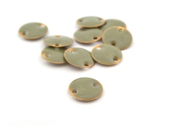 10 round sequins glazed 12 mm light khaki and gold