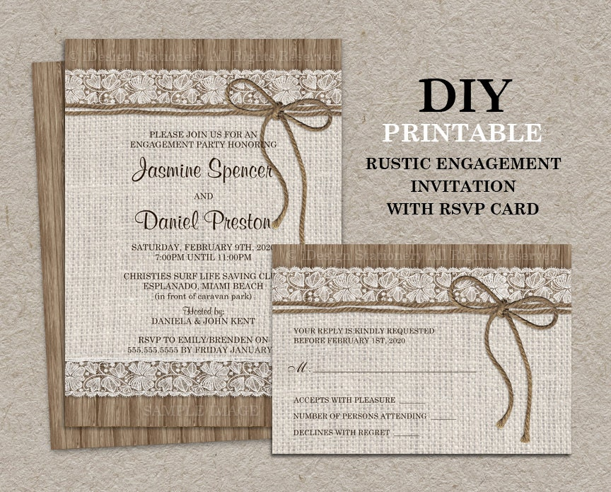 Rustic Engagement Party Invitation With RSVP Card DIY