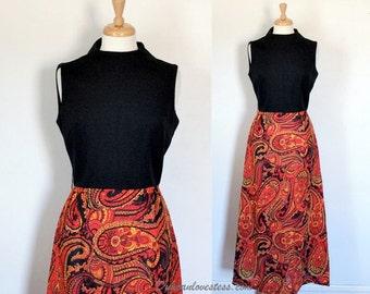 Vintage 60s Dress / 60s Maxi Dress / Graphic Polyester Maxi / Op Art Paisley Skirt / 60s Hostess Dress / 60s Mad Men Era