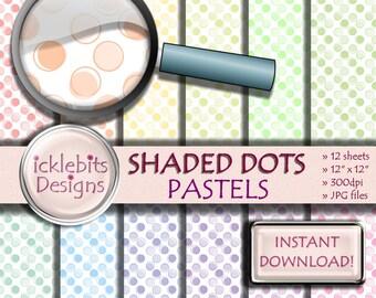 """Pastel Polka Dots Digital Paper Pack, """"SHADED DOTS"""" For Scrapbooking, pastel paper, spotted digital paper, pastel digital paper, Design #93"""