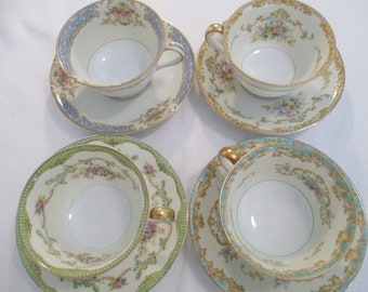 Vintage Mismatched China Cups & Saucers for Tea Party, Wedding, Ladies Lunch, Bridal Luncheons, Showers, Bridesmaid Gift - Set of 4