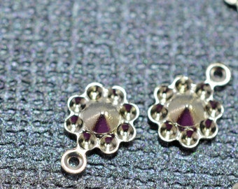 Silver plated flower charm drops, 5mm - #1959