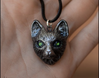 Cat necklace.Cat pendant.Cat jewelry.Magic cat.Silver cat.Shaman cat.Mystic cat. mysterious cat.Cat with green eye.Talisman cat.Amulet cat