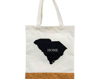 South Carolina State Love 'Home' Cork and Canvas Tote Bag