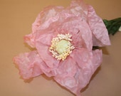 Lot of 12 Handpainted Large Tropical Poppy Flowers- Baby Pink- Millinery Supply, Craft Supply