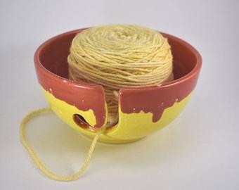 Sunny Yellow Ceramic Yarn Bowl, Handmade Yarn Bowl, Ceramic Yarn Bowl, Yellow Yarn Bowl, Yarn Organizer, Knitters Bowl, Yarn Storage