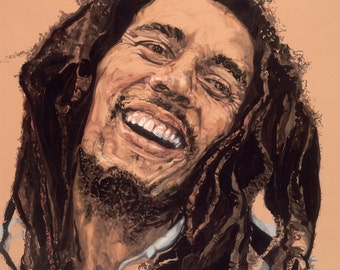 Bob Marley's Smile, Original Ink Painting: Double Matted, Professionally Framed