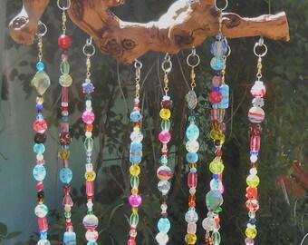 Rainbow Driftwood Sun Catcher - Glass Bead Windchime  - Boho Window Decor - Hanging Garden Art - Beaded Suncatcher Mobile - Bell Wind Chime
