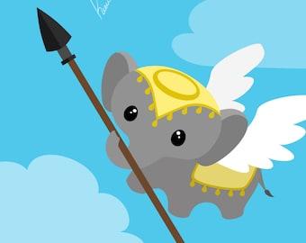 BAE - Battle Angel Elephant - Medium or Small Art Print