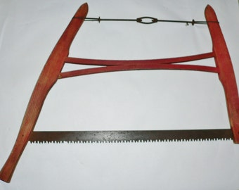 Antique Vintage Rustic Farm Crosscut Saw Wood Buck Bow Farm Logging Tool