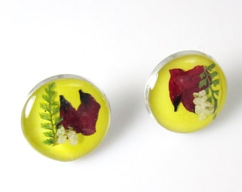 Yellow Not Mellow, Pressed Flower Earrings,  Real Flowers, Post Earrings,  Resin (1199)