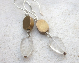 Brass and carved leaf quartz silver earrings, minimalist stone earrings, bohemian earrings, brass and sterling silver earrings, mixed metal