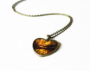 Heart driftwood necklace / Brown vintage style resin necklace / Nature inspired jewelry / Romantic gift for her / FREE SHIPPING