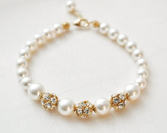 Gold Pearl Bracelet, Ivory Pearl Gold Bridal Bracelet, Gold Ivory Pearl Bracelet, Gold Jewelry