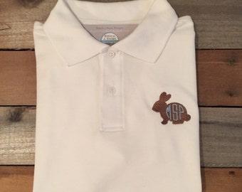 Bunny polo shirt, bunny with initials polo shirt, easter bunny polo shirt, boy polo shirt, SSD-38