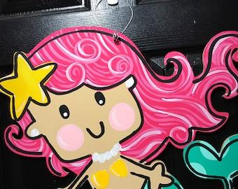 Mermaid Door Hanger- Mermaid Decorations- Mermaid Lover- Summer Door Hanger- Spring Door Hanger