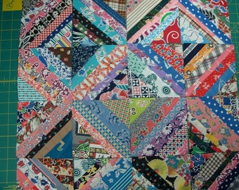 "Strip Pieced 5"" Vintage Feedsack,30s,40s Fabric Squares - FREE SHIPPING"
