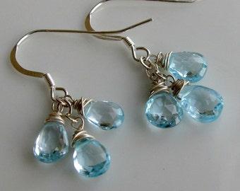 AA Blue Topaz Earrings