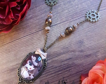Handcrafted  Steam T necklace // burlesque style