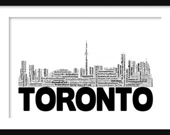 Toronto Canada Word Art Skyline 2 Typography Print Poster