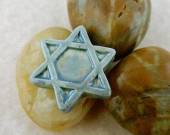 8 Raku Magen David Star of David beads