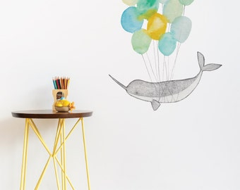 Narwhal On Balloons Removable Wall Sticker