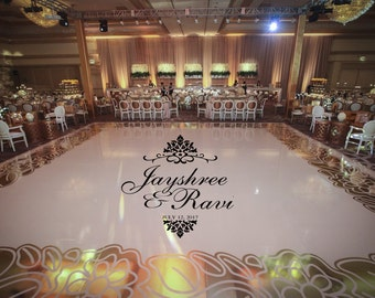 Huge 8 foot damask theme reception dance floor decal wedding