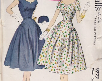 Vintage 1954 McCall's Sewing Pattern 9777 / Misses Shirtwaist Dress / Size 12 Bust 30