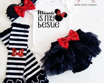 Mini Mouse is my BFF Best Friends glitter baby bodysuit leg warmer bloomer set silver and black baby girl set