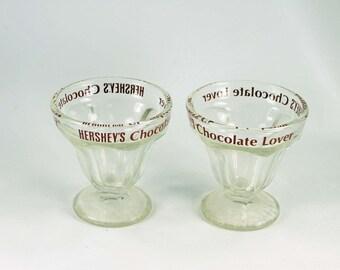2 Vintage Hershey's Sundae Dishes or Ice Cream Bowls