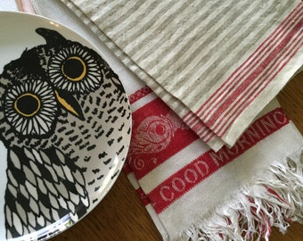 Vintage Linen or Damask Red and Beige Dish or Hand Towels- T5