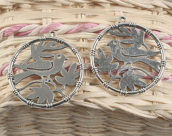 10pcs silver tone two sides round bird with leaf pendant charm G924