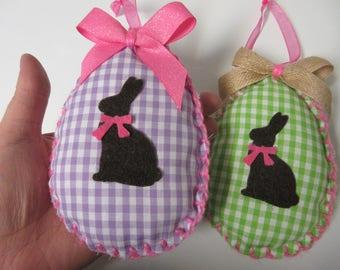 2 Gingham Fabric Easter Egg Ornaments-Easter Bunny Decor-Easter Decor-Easter Ornaments-Chocolate Bunny Decor-Felt Easter Ornaments