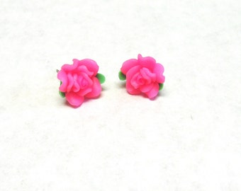 Pink Flower Rosebud Earrings Post