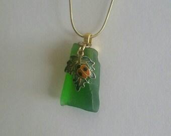 Ladybug Sea Glass necklace