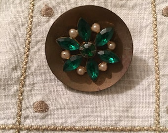 Vintage Buttons - One of a kind brass button with emerald rhinestones and faux pearls
