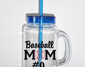 Personalized MasonJar2Go Tumbler, Baseball Mom Tumbler, Mason Jar, Acrylic