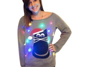 more colors womens ugly christmas sweater cat light up