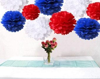 Bulk 18pcs Royal Blue Red White DIY Tissue Paper Flower Pom Poms Wedding Birthday Patriotic Party Decoration