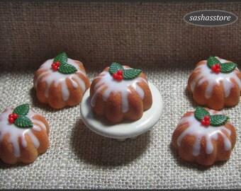 Dollhouse miniature christmas cake, 12th scale miniature bundt cake