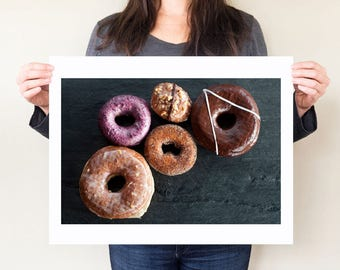 Doughnut art, donut food photography print. Doughnuts still life photograph, kitsch kitchen artwork. Large format wall art by Diana Pappas