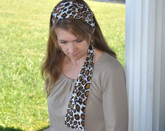 Women's Cheetah Animal Print Black, Tan, Beige Stretch Hair Wrap, Headband, Headscarf, Hair Tie, Headcovering, Head Covering, handmade gift