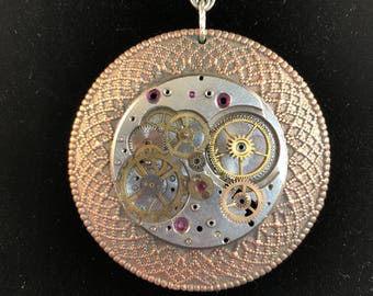 Pocket Watch Movement Necklace - Pendant - Pendant Necklace - Watch Parts Necklace - Pocket Watch - Avant Garde - Steampunk - Eclectic -